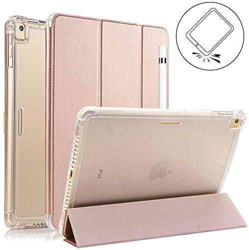 Valkit iPad 10.2 Case 2019(7th Gen) - Smart Trifold Stand Protective Heavy Duty Rugged Impact Resistant Armor Cover with Auto Sleep/Wake+Pencil Holder+Removable Front Cover, Rose Gold
