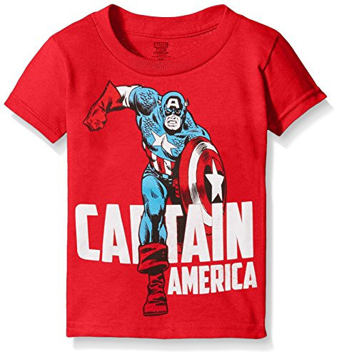 Marvel Little Boys' Toddler Captain America Running Short Sleeve T-Shirt, Red, 4T ()