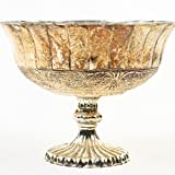 Koyal Wholesale Compote Bowl Centerpiece Mercury Glass Antique Pedestal Vase, Floral Centerpiece, (5-Inch, Burnt Gold)