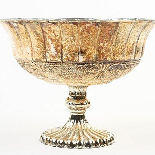 Koyal Wholesale Compote Bowl Centerpiece Mercury Glass Antique Pedestal Vase, Floral Centerpiece, (5-Inch, Burnt Gold) (Rose Urn Antique)