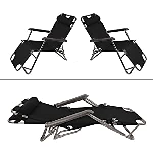 garden mile® TWIN PACK BLACK TEXTOLINE ZERO GRAVITY FED GARDEN SUN LOUNGER SUN BED RECLINER RECLINING FOLDING FURNITURE…