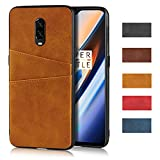 Jaorty Compatible with OnePlus 1+ 6T Case, Slim PU Leather Back Case Cover with Credit Card Holder Durable Protective Cover Case for OnePlus 1+ 6T (Khaki)
