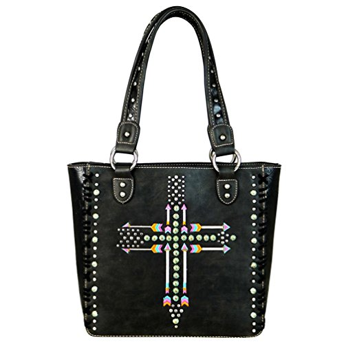 Montana West Purses Western Arrows and Cross Tote Bag Handbags MW606-8305 (Black) by Montana West