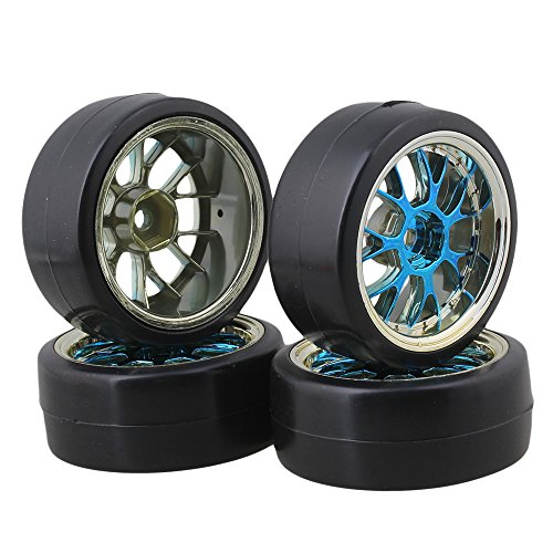 BQLZR Blue Plastic Y Shape Hub Wheel Rim with Smooth Tires for RC 1:10 On-road Racing Car & Drift Car Pack Of 4 (Car Rc Drift 1 10)