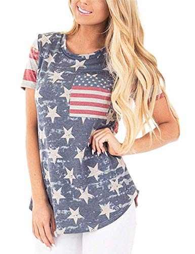 Womens 4th of July Plus Size American Flag Tank Tops Sleeveless Casual Summer Patriotic Tee Shirts ()