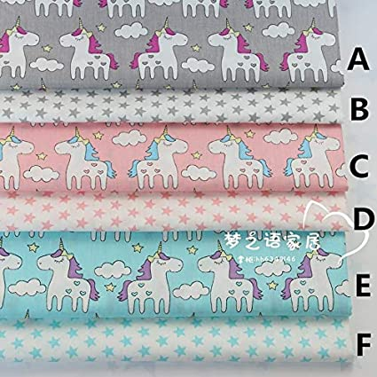 Baby Bedding Quilting 160cmx50cm Unicorn Star Cotton Infant Crafts Material Sewing