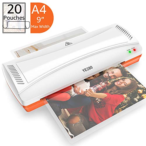 YE280 Laminator Machine for A4/A6, Thermal Laminating Machine for Home Office School Use with 20 laminating Pouches , Quick Warm-up and 2 Roller Heating System