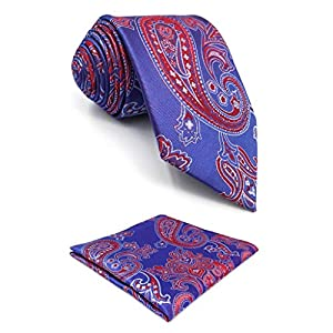 S&W SHLAX&WING Blue Red Men's Neckties Paisley Tie New Design Neck Tie