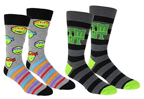 Teenage Mutant Ninja Turtles Casual Crew Socks 2 Pair Pack Grey Heather ()