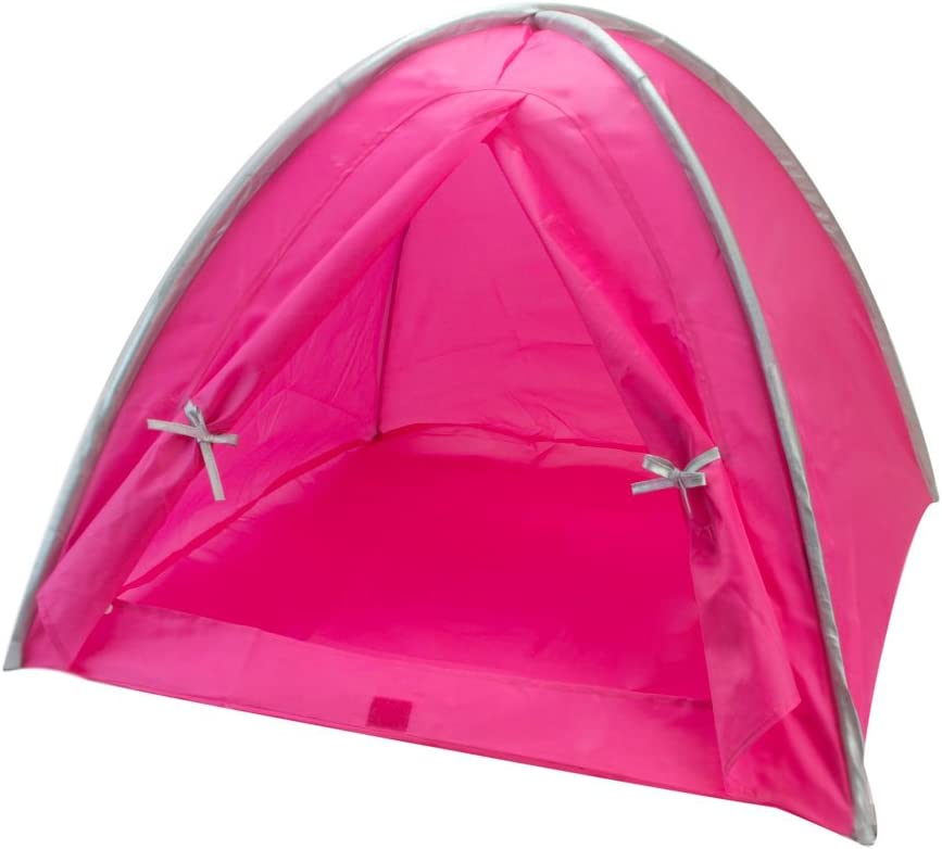 Sophia's Doll Tent in Hot Pink & Silver Trim, Fits 18 Inch American Dolls & More! 18 Inch Doll Camping Tent in Pink & Silver