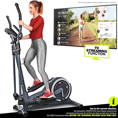 Sportstech Cross Trainer CX625 – Quality German Brand – Video Events & Multiplayer App + Multifuctional Display + with Tablet Holder – Elliptical Trainer
