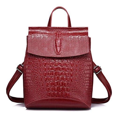 Mochilas de cuero para niñas adolescentes School Bag Bolso Mochila Impresiones de cocodrilo Rojo