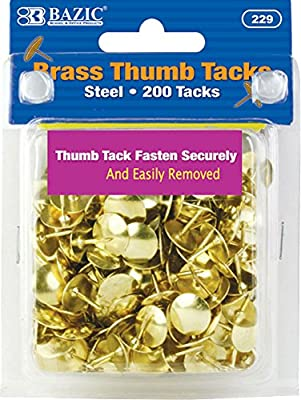 BAZIC Gold Thumb Tacks 200 Push Pins for Crafts /& Office Organization