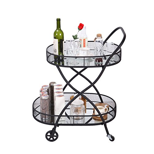 Adeco Kitchen Carts Serving Cart with 2 Tier Black Mirror Shelves