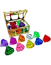 CeFurisy Diving Gem Pool Toy 10pcs Diamond Set with Treasure Pirate Box, Swimming Gem Pirate Diving Toys Underwater Toy for Kids