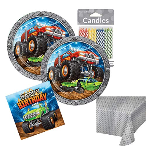 Monster Truck Birthday Party Supplies Monster Jam Theme Kids Disposable Tableware Set Serves up to 16 Guests Includes Plates, Napkins, Tablecover & Candles (Monster Truck Table Decor)