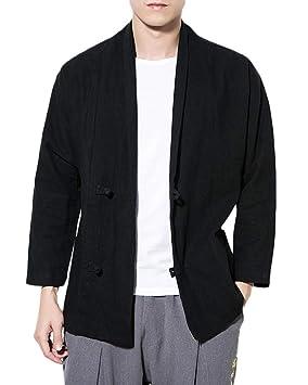 Cárdigan Kimono Abrigos para Hombre Mezcla de Algodón y Lino Chaqueta Retro Estilo Chino: Amazon.es: Deportes y aire libre