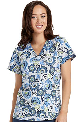 (Med Couture Women's V-Neck Valerie Print Scrub Top, Navy Delight, XX-Large)