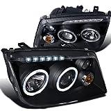 jetta mk4 headlight assembly - Spec-D Tuning LHP-JET99JM-RS Volkswagen Jetta Led Black Projector Head Lights W/Fog Lamps