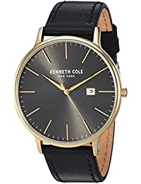 Men's Quartz Stainless Steel and Leather Casual Watch, Color:Grey (Model: KC50222001)