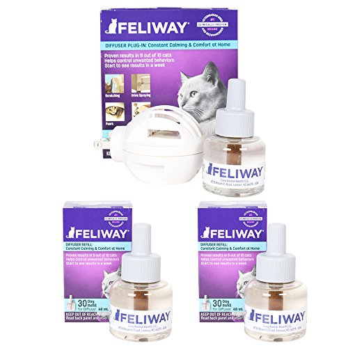 - Ceva Feliway Plug-In Diffuser with 3 Refills, 48 mL