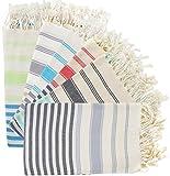 (SET of 6) 100% Turkish Cotton Bath Beach Hammam Towel Peshtemal Throw Foua Blanket Set (Multi2)
