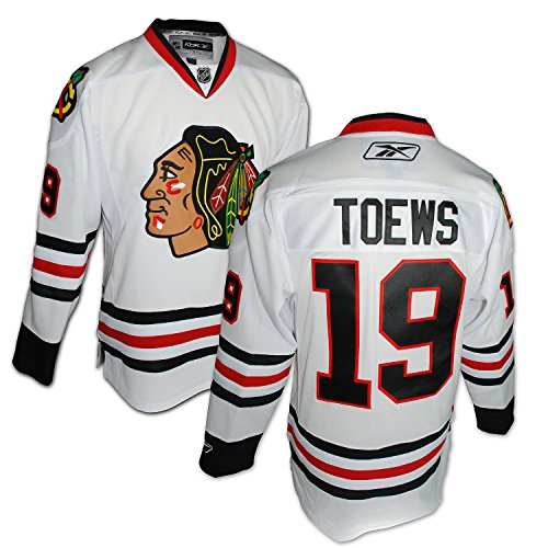 Player Reebok White (NHL Chicago Blackhawks #19 Jonathan Toews Reebok Edge Premier Player Jersey (White, Large))
