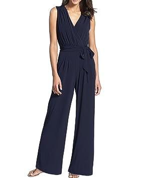 MISSMAO Mujeres Monos Yoga Elegante Traje Profesional Pantalones Anchos Blusa V Cuello Jumpsuit Playsuit Azul XL
