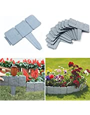 NEWIT Garden Plastic Fence Edging 40 pcs,Cobbled Stone Effect Garden & Lawn Edging and Landscape Border,for Garden Fence Flower Bed & Grass (Gray-20pcs)