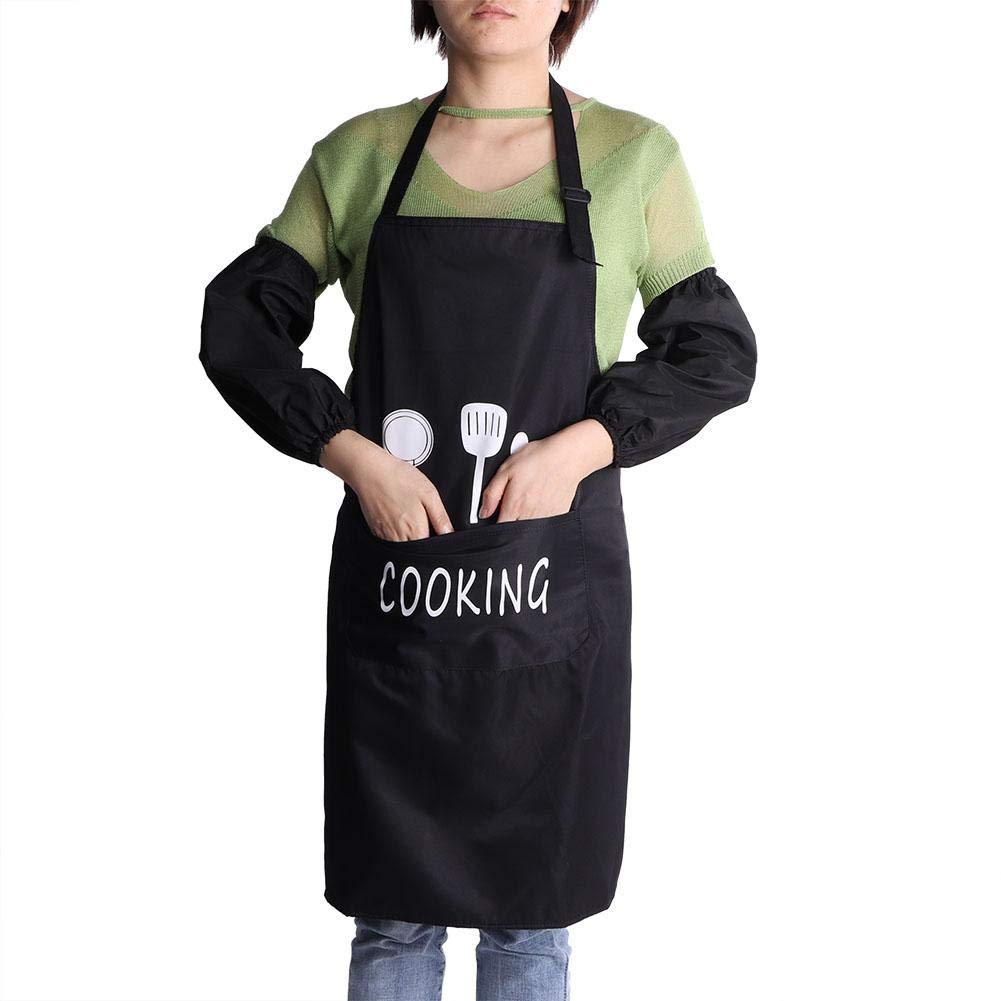 Juego de Mangas de Cocina Herramienta de Cocina para cocinar en casa Cocinar en una Barbacoa Cafopgrill Delantal de Cocina para Hornear Delantal antifouling de Cocina con Bolsillos Negro