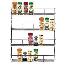 HNXZL Stainless Steel Wall Cabinet Spice Rack Organizer for Kitchen Storage (4 Tiers)