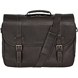 "Kenneth Cole Reaction ""Show Business"" Colombian Leather Double Compartment Flapover Portfolio/Computer Case With Pull Through Handle/ Fits Most 15.4"" Laptops, Brown, One Size"