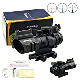 PROSUPPLIES @ SNIPER Tactical 4x32mm Scope BDC Etched Glass Reticle Fiber Optic Backup Sight Red, Green, Blue Illuminated Reticle - Fiber Optic BUS