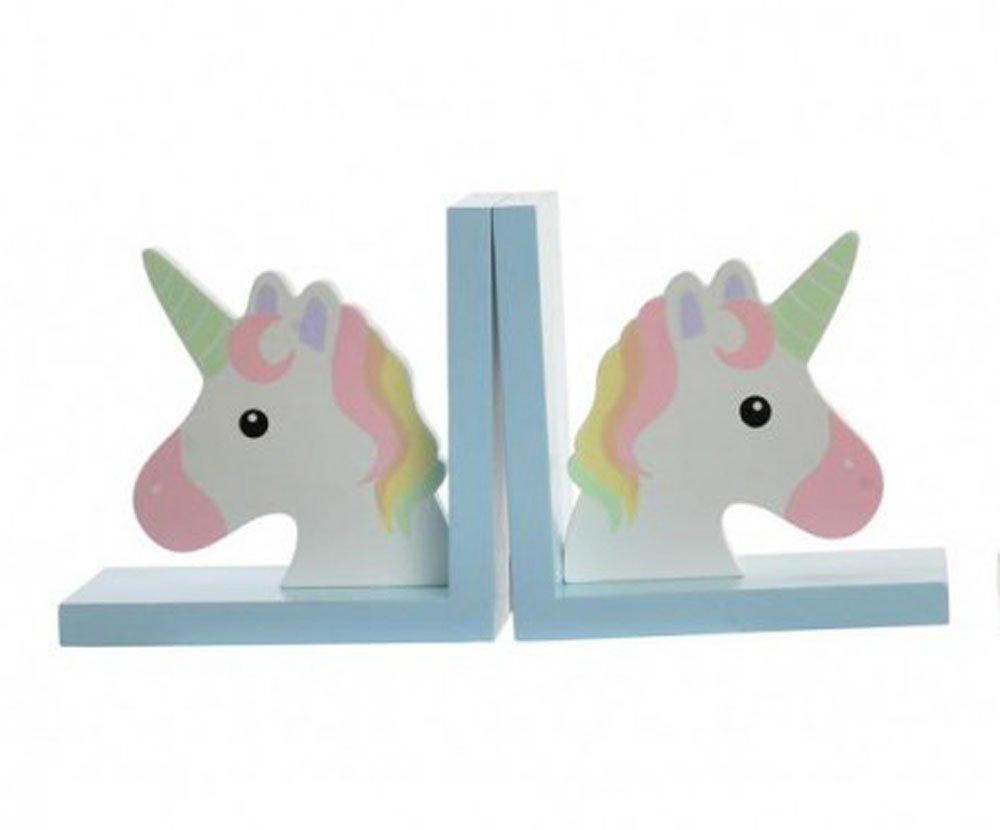 2 x Buchstütze Einhorn für Kinderzimmer Regal Set Unicorn Bunt (Türkis) Unbekannt
