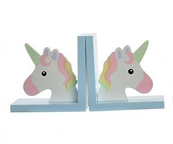 2 x Buchstütze Einhorn für Kinderzimmer Regal Set Unicorn Bunt ...