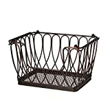 Gourmet Basics by Mikasa 5201552 Loop and Lattice Stacking/Nesting Rectangular Metal Basket, Antique Black