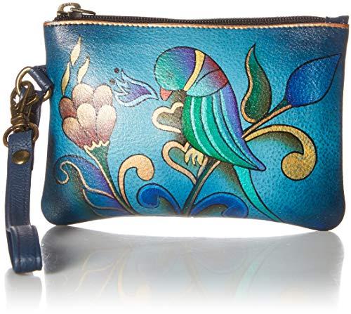 Anna by Anuschka Hand Painted Leather   Medium Organizer Pouch / Coin Purse   Portuguese Parrot Denim