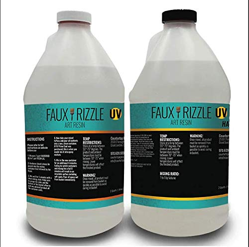 Faux Rizzle Art Resin UV - UV Resistant, Clear Resin to be Poured Over Art, Tumblers, etc. - Non-Toxic and Easy Application - 1 Gallon