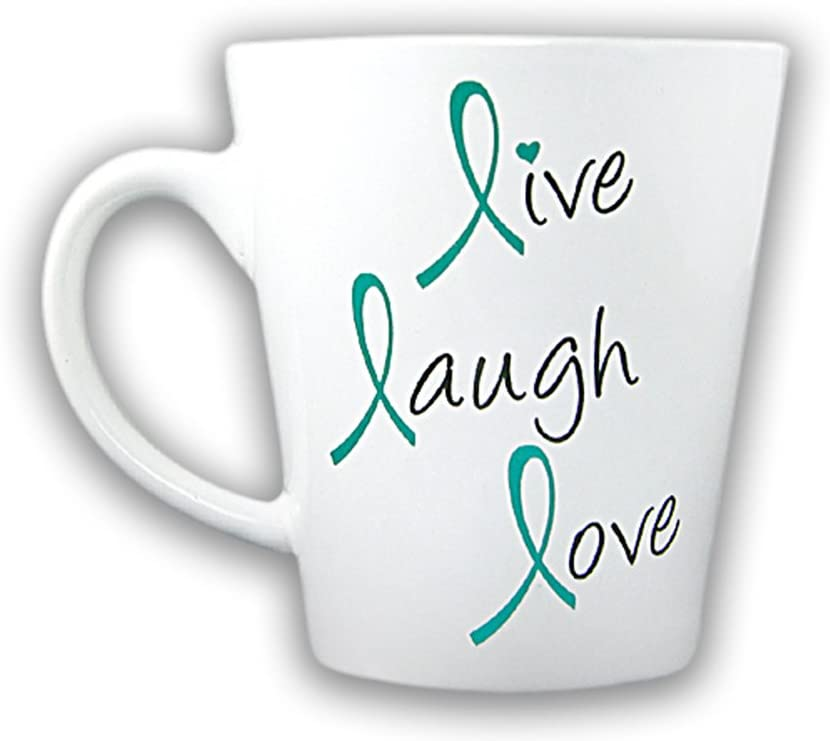 Teal Ribbon Coffee Mug in a Gift Box - Live Laugh Love (1 Mug - Retail)