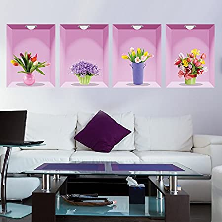 3D Flowers Vase Wall Stickers Mural Art Home Decoration Accessories For Living Room Removable Vinyl By Clest FH Amazoncouk DIY Tools