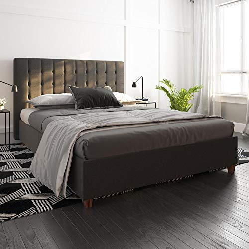 DHP Emily Upholstered Linen Platform Bed with Wooden Slat Support, Tufted Headboard, Queen Size - Grey
