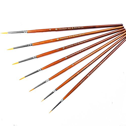 Transon Detail Model Paint Brushes 7pcs for Acrylic, Gouache, Oil, Tempera, Enamel and Face Painting