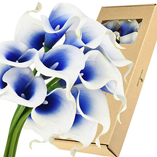FiveSeasonStuff Real Touch Calla Lilies Artificial Flowers Wedding Bridal Bouquet Home Décor Party |Floral Arrangments | 15 Stems (Silk White & Abyss Blue)