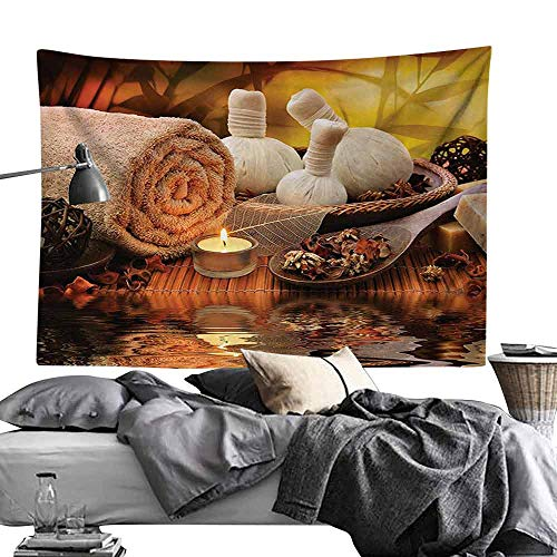 Hall Tapestry Spa Decor Collection Outdoor Spa Massage Setting at Sunset with Candlelight Reflections Culture Picture Bedroom Home Decor W80 x L60 Brown Ivory Cream