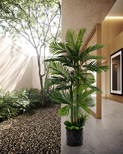 """GARDEN COUTURE Deluxe 78"""" Golden Cane Palm Silk Artificial Tree + Premium Fiddle Leaf Foliage in 8"""" Base + 12"""" Plant Pot Skirt 2"""