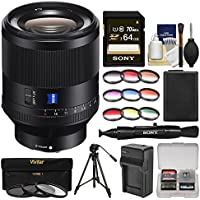 Sony Alpha E-Mount Planar T FE 50mm f/1.4 ZA Lens with 64GB Card + NP-FW50 Battery & Charger + Tripod + 3 UV/CPL/ND8 & 6 Colored Filters Kit