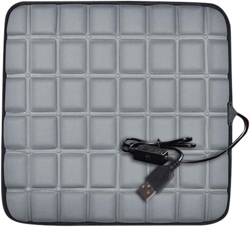 Heating Car Seat Cushion Graphene Fast-Heating Electric Warmer Memory Foam Pad (USB Socket, Gray)