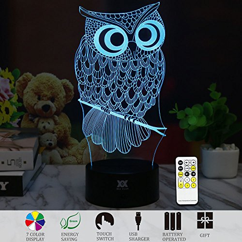 3D Illusion Animal Owl Remote Control LED Desk Table Night L
