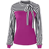 Women Blouse Long Sleeve Color Block Splice Stripe Bowknot Bandage Tunic Tops Shirt (S, Pink)