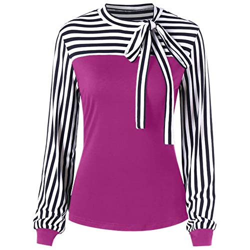 Realdo Women Casual Tie-Bow Neck Striped Long Sleeve Splicing Shirt Blouse - Teddies Ruffled Stretch
